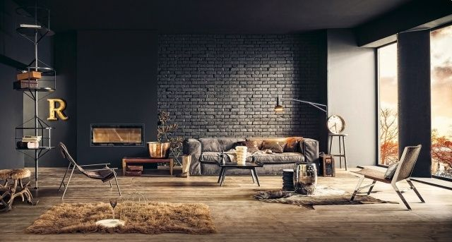 Lounge Wohnzimmer Mobel Ledersofa Tierfelle Holz Bodenbelag Schwarze