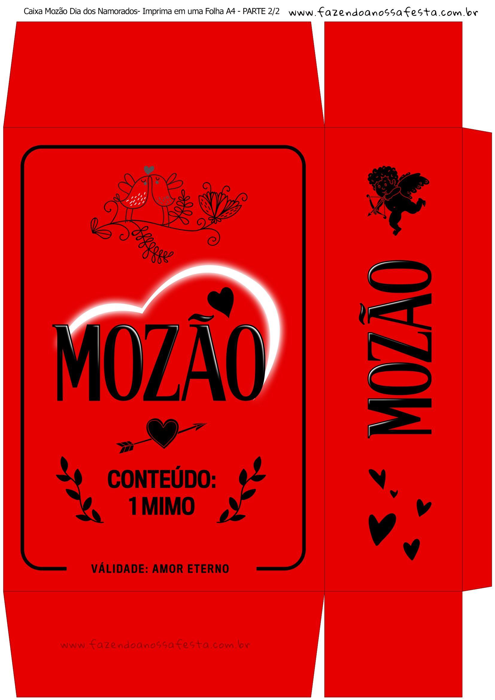 852ad1e1c8d3cb Caixa Mozao Presente Dia dos Namorados - Parte 1 - Vermelho ...