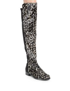 Stuart Weitzman Calf Hair And Suede Over The Knee Boots
