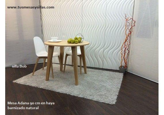 Oferta mesa redonda extensible en blanco y madera de estilo nordi ...