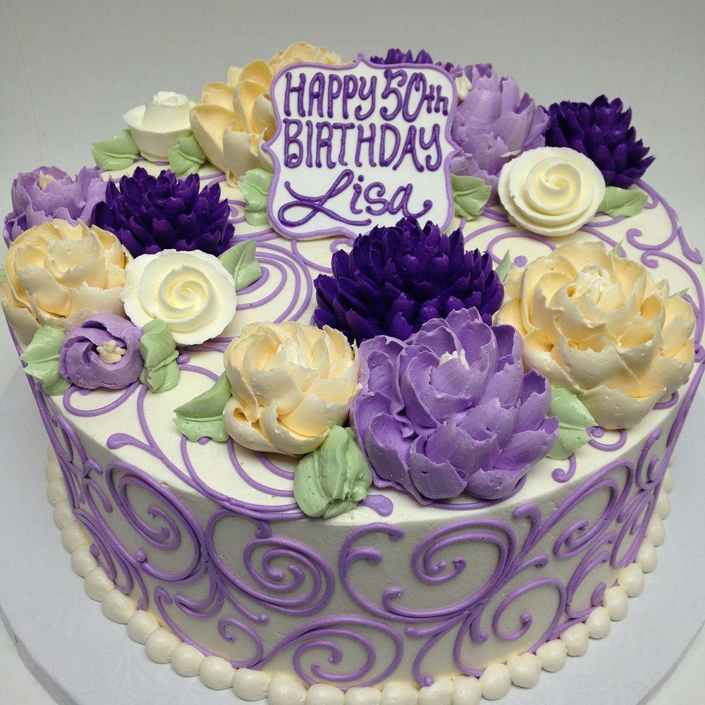 FB 2 PURPLE Buttercream Birthday Cake Desserts Pinterest