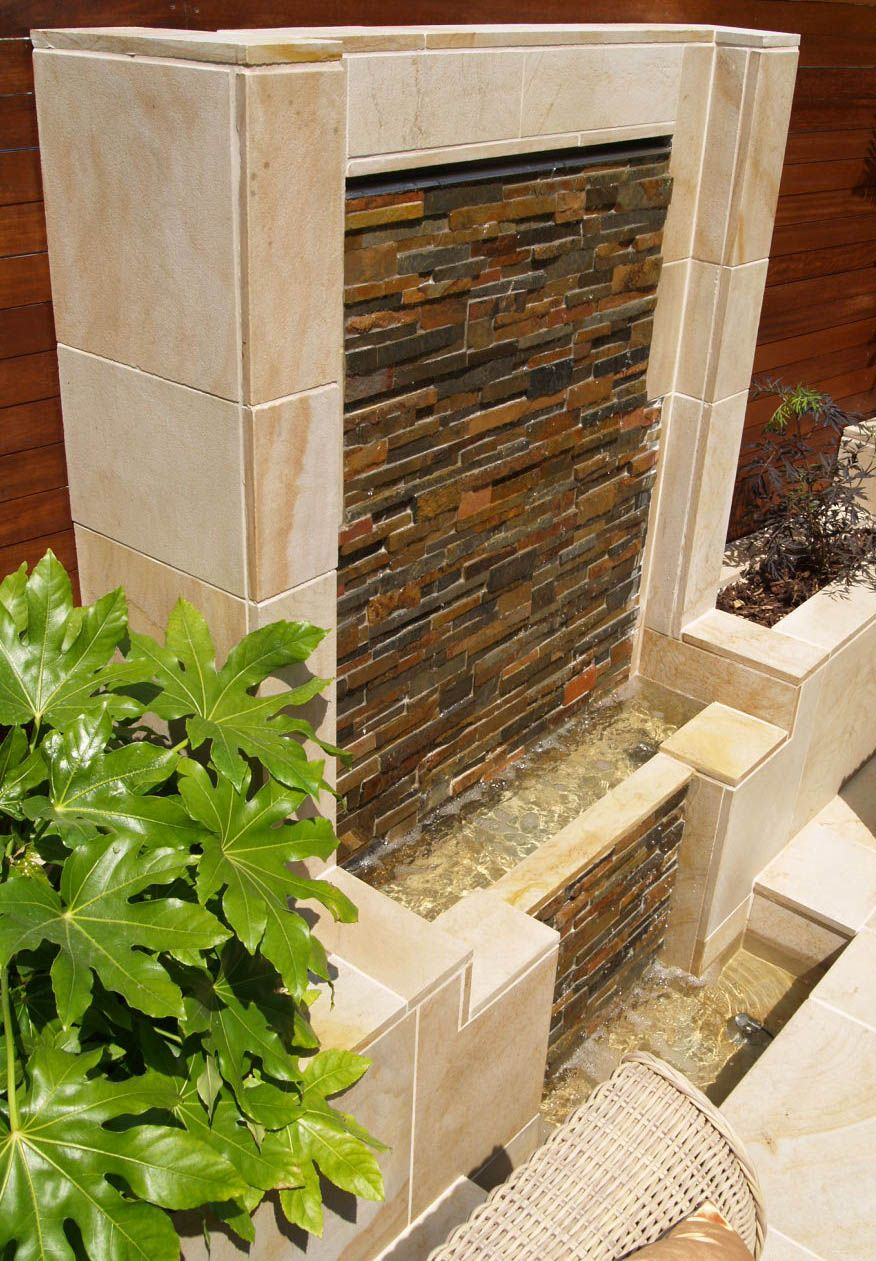 Water Feature In A Contemporary Courtyard First Tower Jersey