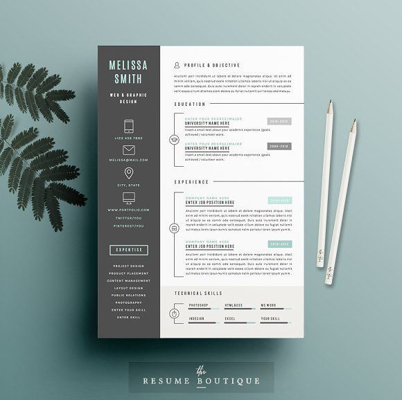 Resume Template 4 page pack | Iconic | Template, Creative resume ...