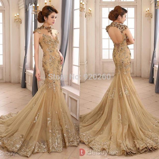 2015 Luxury Gold Mermaid Wedding Dress High Neck Sheer Vestido de ...