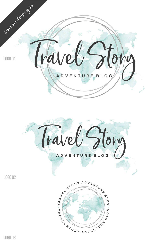 Travel Logo Watercolor Logo Premade Logo Branding Package World