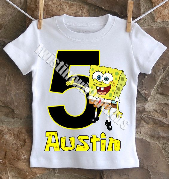 A Fun Unique Boys SpongeBob Birthday Shirt Personalized With Your Childs Name And Age All Shirts Are 100 Cotton I Use Professional Heat Press To