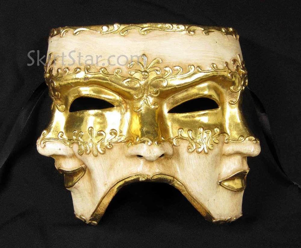VENETIAN full face 3-Face MASK masquerade Paper Maché Costume Gold ...