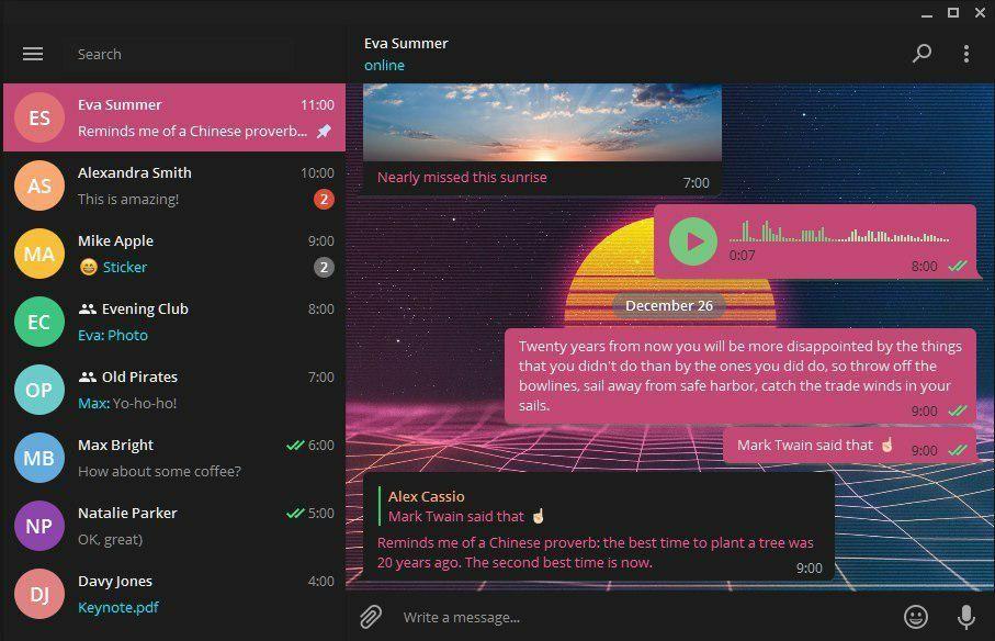 Telegram actualiza su cliente de escritorio y añade temas