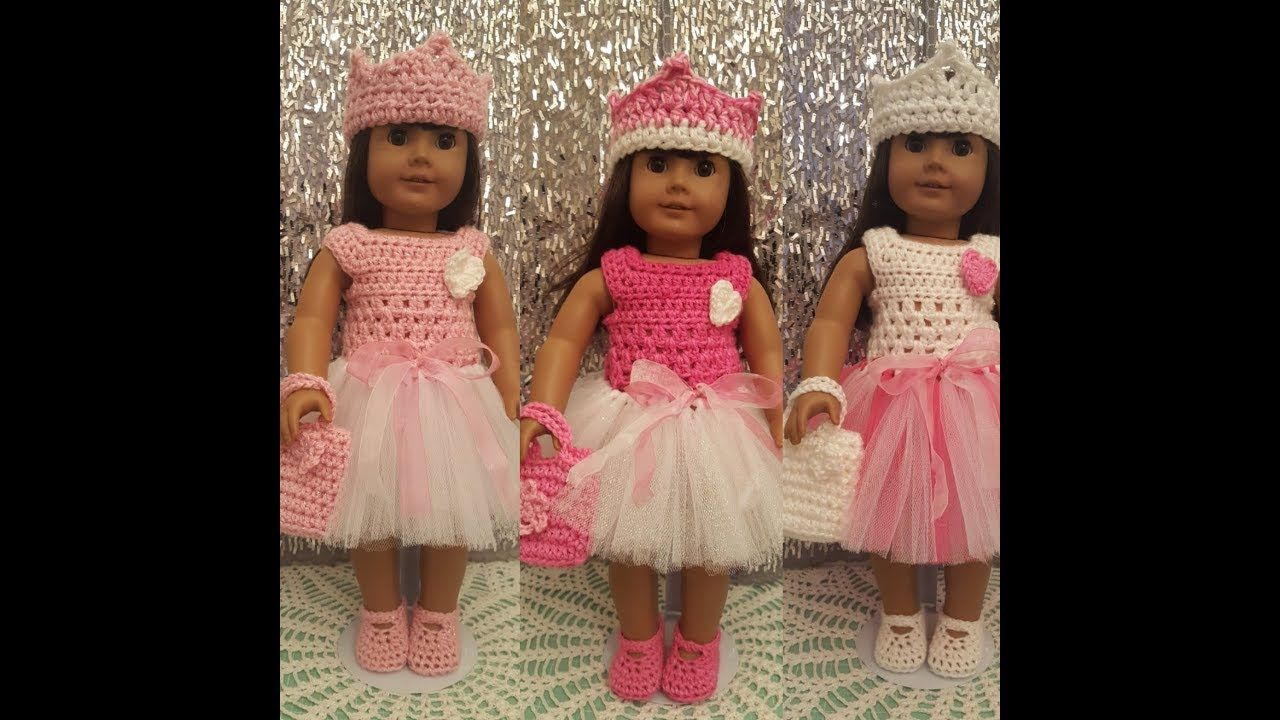 caeaac4986 Crochet American Girl Tutu Easter Dress - Tutorial - YouTube