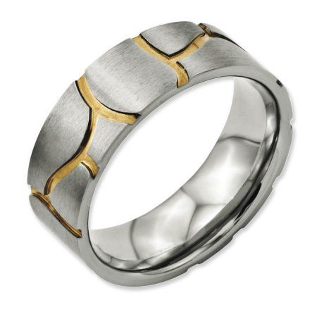 Bridal Titanium Yellow IP-plated Grooved 7mm Polished Band
