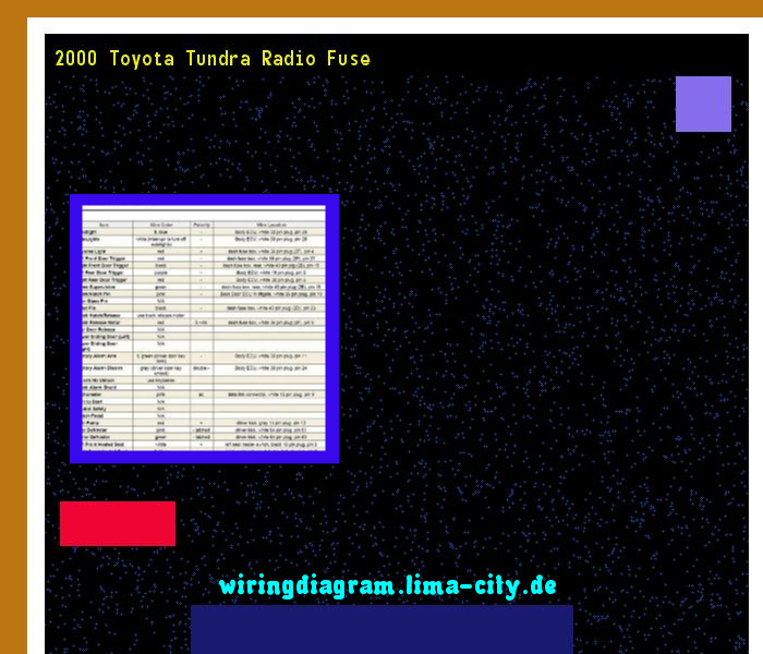 2000 Toyota Tundra Radio Wiring Diagram - Collection ...