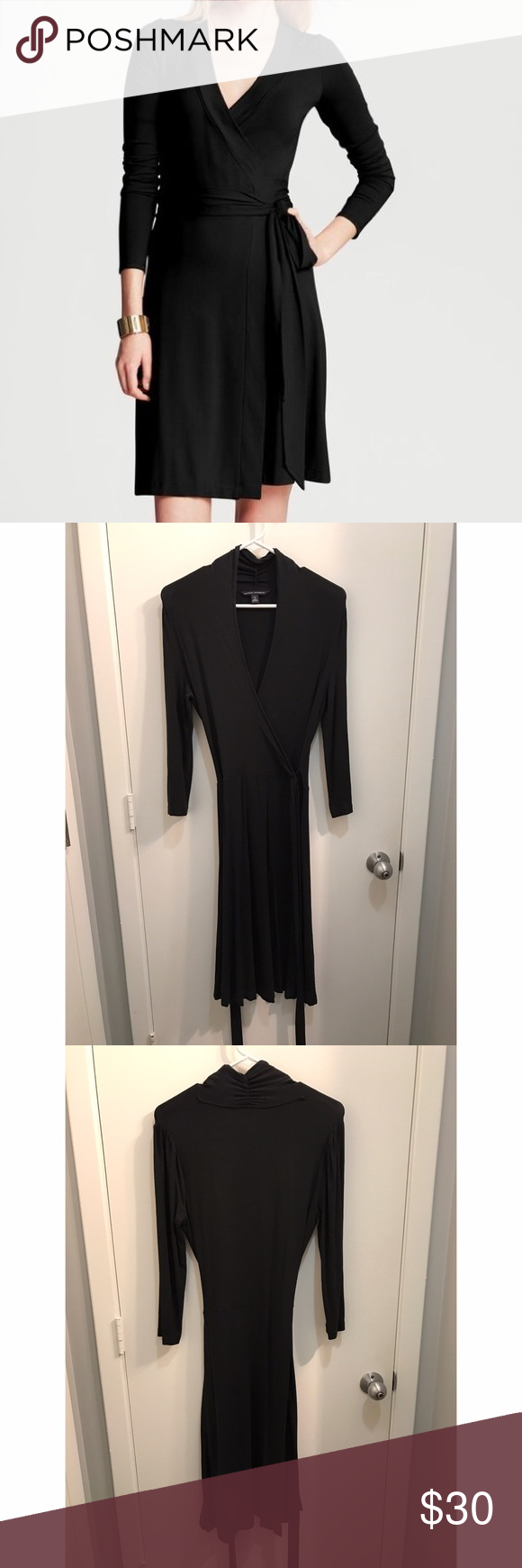 Banana Republic Black Gemma Wrap Dress Excellent used condition. Beautiful, classy wrap dress. Great staple! Size is tall small. Banana Republic Dresses Long Sleeve