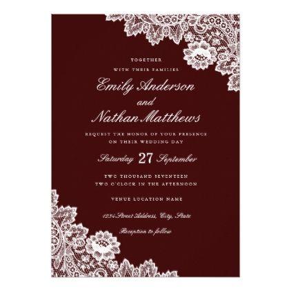 Elegant White Lace Burgundy Wedding Invitation Gifts Style Diy Unique Special Ideas
