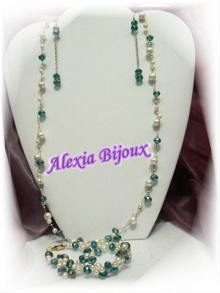 Parure cristalli e perle realizzata a mano caricata sul sito alexiabijoux.jimdo.com Collana Bracciale e orecchini Articolo 213