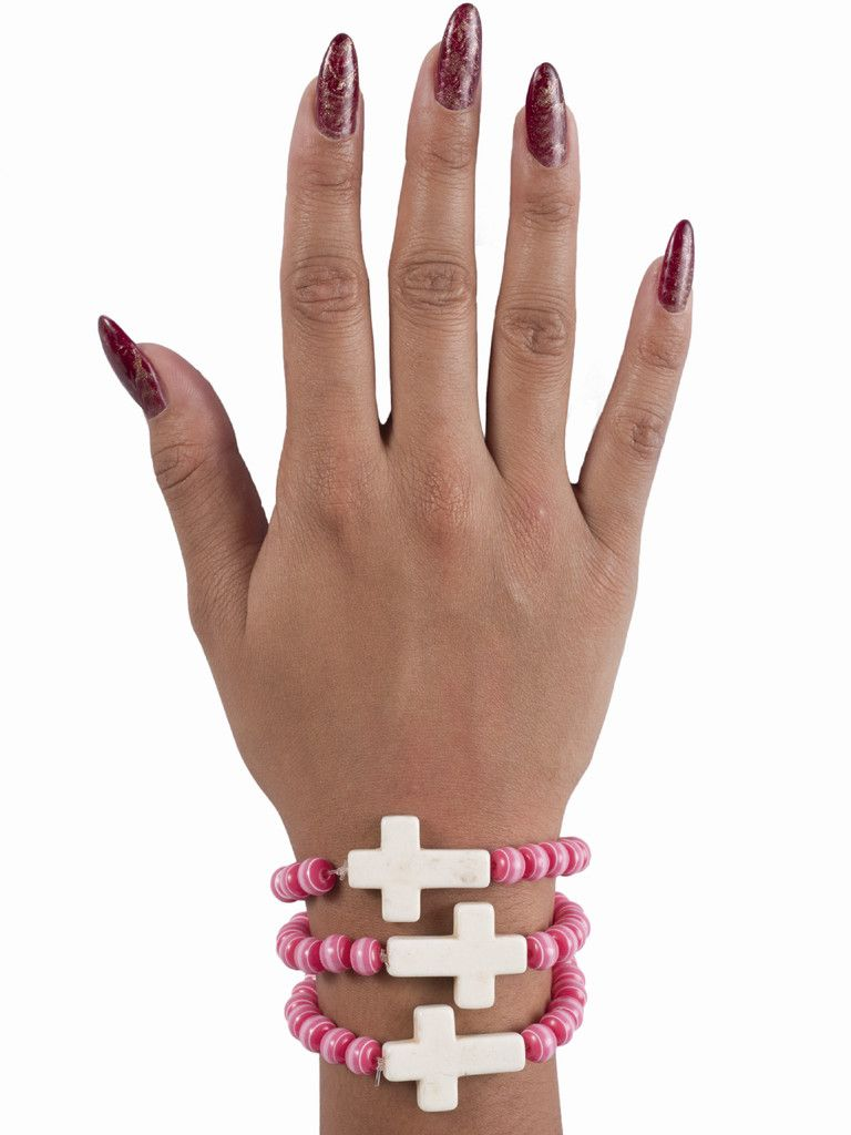 Pink Against Cancer Cross Bracelet.