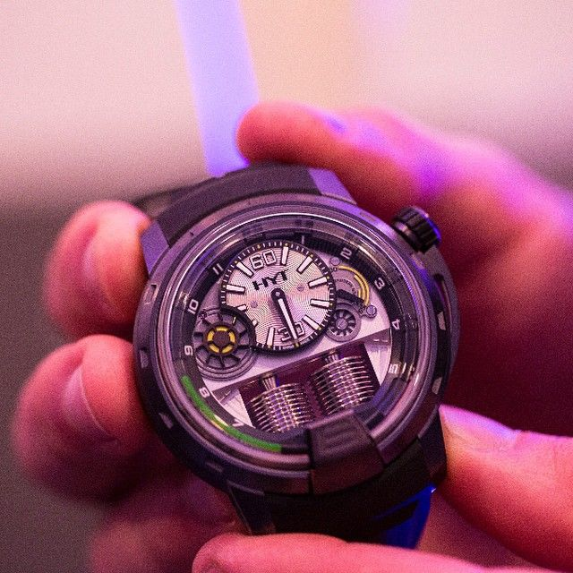 Who else checked out @HYTwatches at #Salonqp? Launched officially at Baselworld 2012, the HYT H1 is a hydro-mechanical watch with the hours indicated by liquids. It's a combination of some of the finest watchmaking coupled with the most immense engineering in the industry today.  http://iconosquare.com/viewer.php