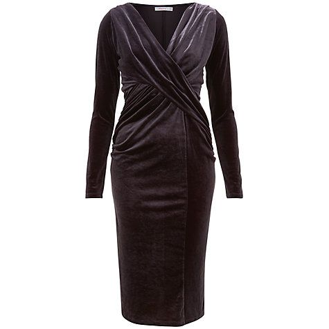 Flockton Charcoal Grey Crossover Velvet Dress Finery Supply For Sale Genuine Cheap Online Free Shipping For Cheap s64nNgatbd