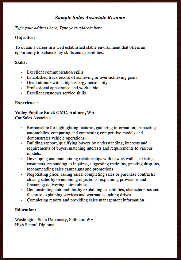 Here Comes Anther Free Resume Example Of Sales Associate Resume You Can Preview It Here Sample Sales Associate Resume Type Your Address Here Type Your Addre