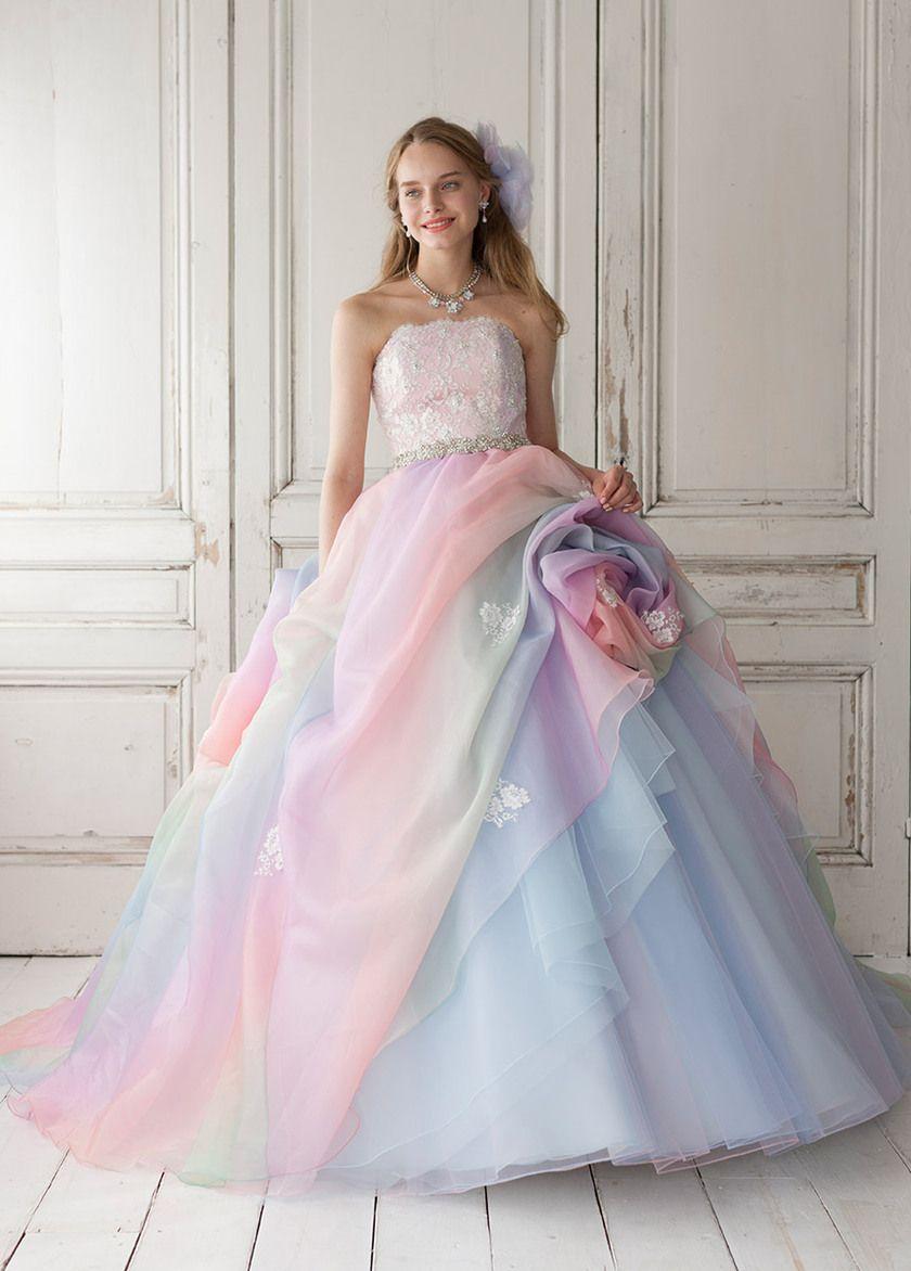 レインボーのカラードレスが可愛いブランドまとめ | Gowns, Wedding ...