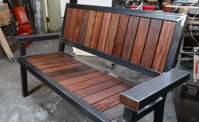 Decking scraps sculpted into industrial steel and wood bench ...
