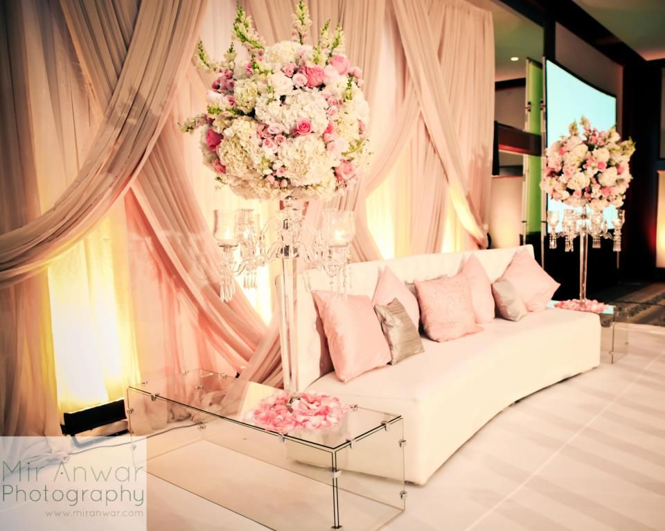Can insert acrylic gold chests here delicate pale pink wedding love the sofa wedding stage decor junglespirit Image collections