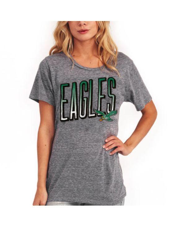 55ace54fd Women s Junk Food Heathered Gray Philadelphia Eagles Touchdown Tri ...