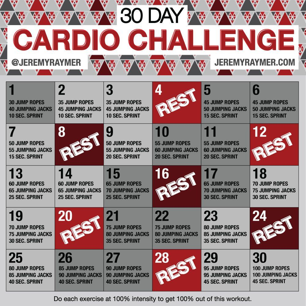 30 Day Cardio Challenge make you work hard and push yourself through the next month without giving up! These workouts can be done INSIDE or OUTSIDE.