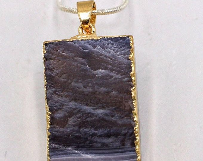Amethyst Necklace Raw Amethyst February Birthstone Gold Platted Amethyst Pendant Amethyst Slice jewelry Gemstone