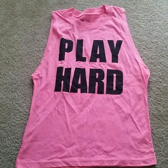 NWT PLAY HARD muscle tee Neon pink. Brand new with tags.  So cute and playful for summer! Tops Muscle Tees