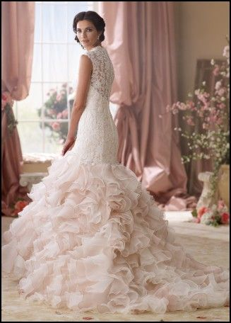 Blush Pink Ruffle Wedding Dress | Wedding Ideas | Pinterest | Blush ...