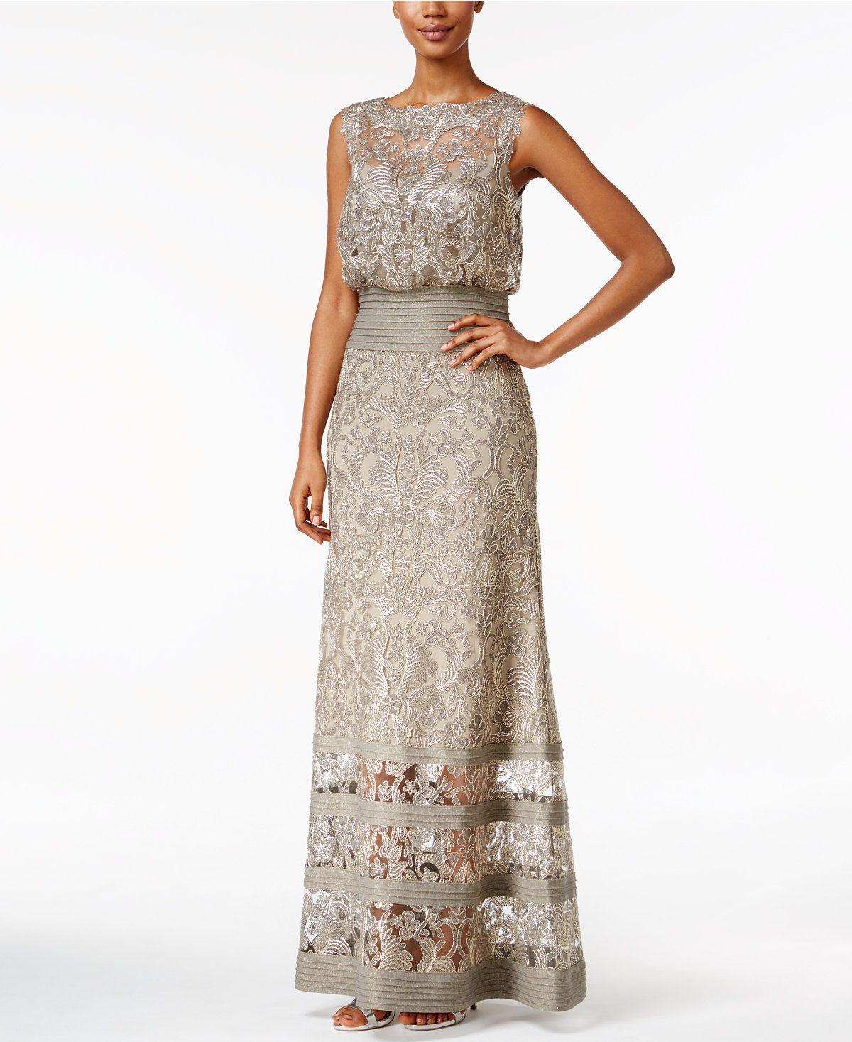c1d22a058d9f Tadashi Shoji Lace Blouson Gown - Dresses - Women - Macy's ...