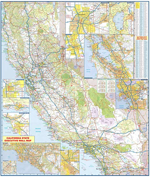 amazon com 36x42 california state official executive on laminated wall maps id=95319