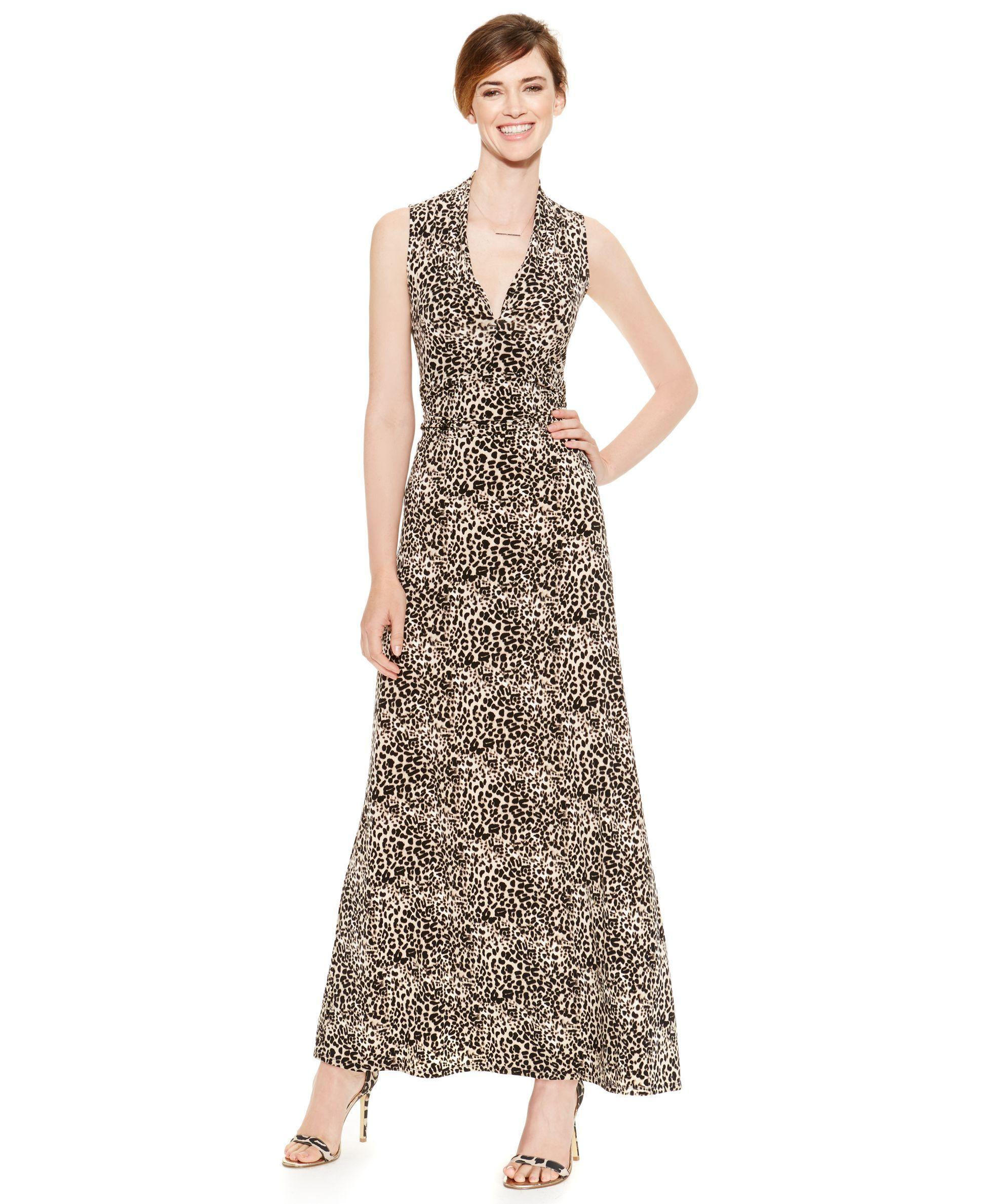 4efb1997e3 Vince Camuto Deep-v Leopard-Print Maxi Dress | Products | Dresses ...