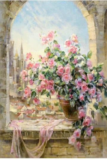Rose Flower Scene DIY Diamond Painting Mosaic Kit Picture