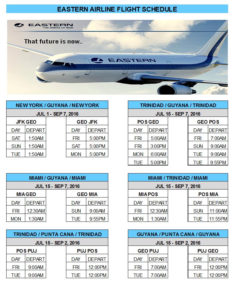 Eastern Airlines Flight Schedule