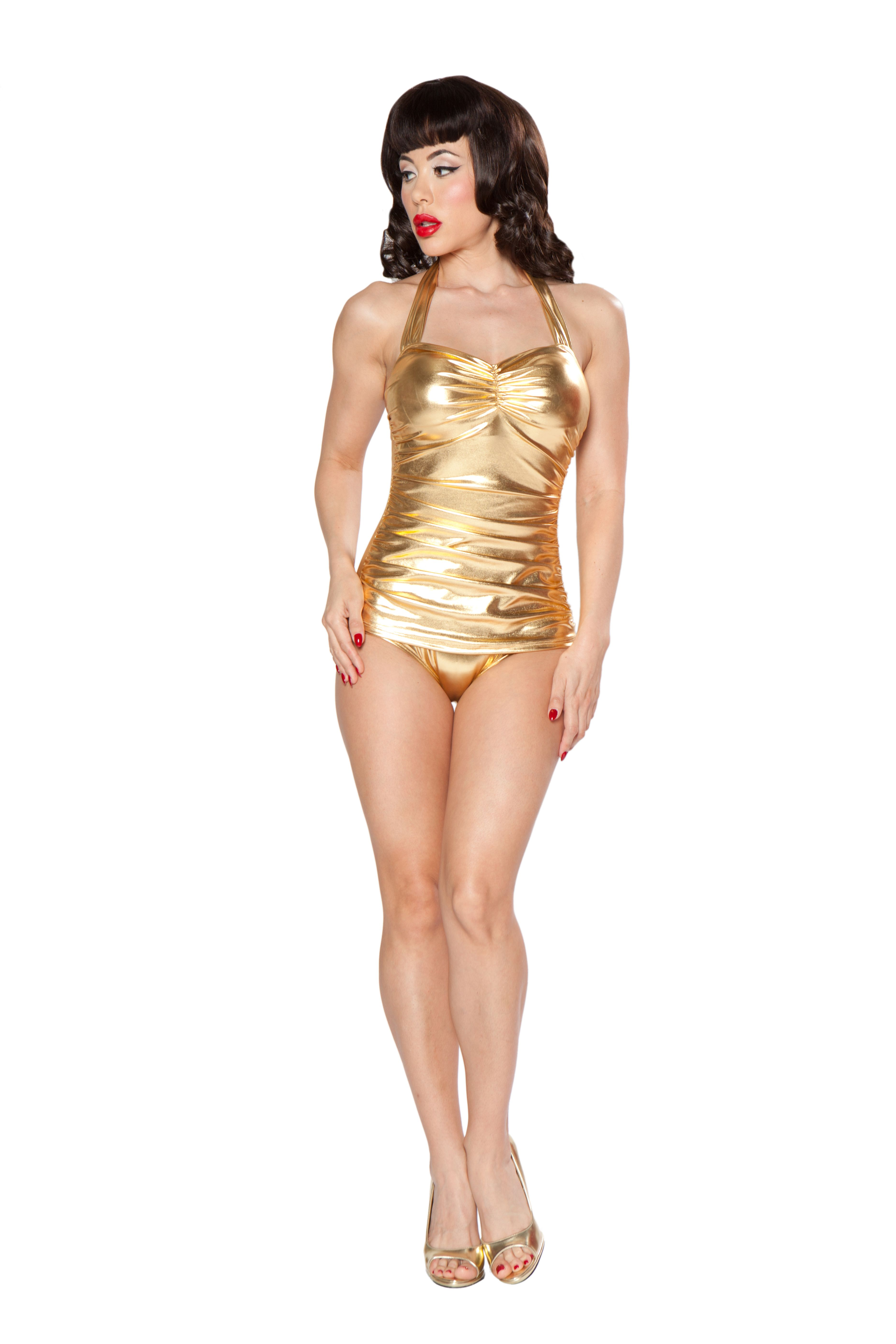 41b000cf25738 Esther Williams Classic Sheath Swimsuit in Glitz Gold - Dee Foreman ...