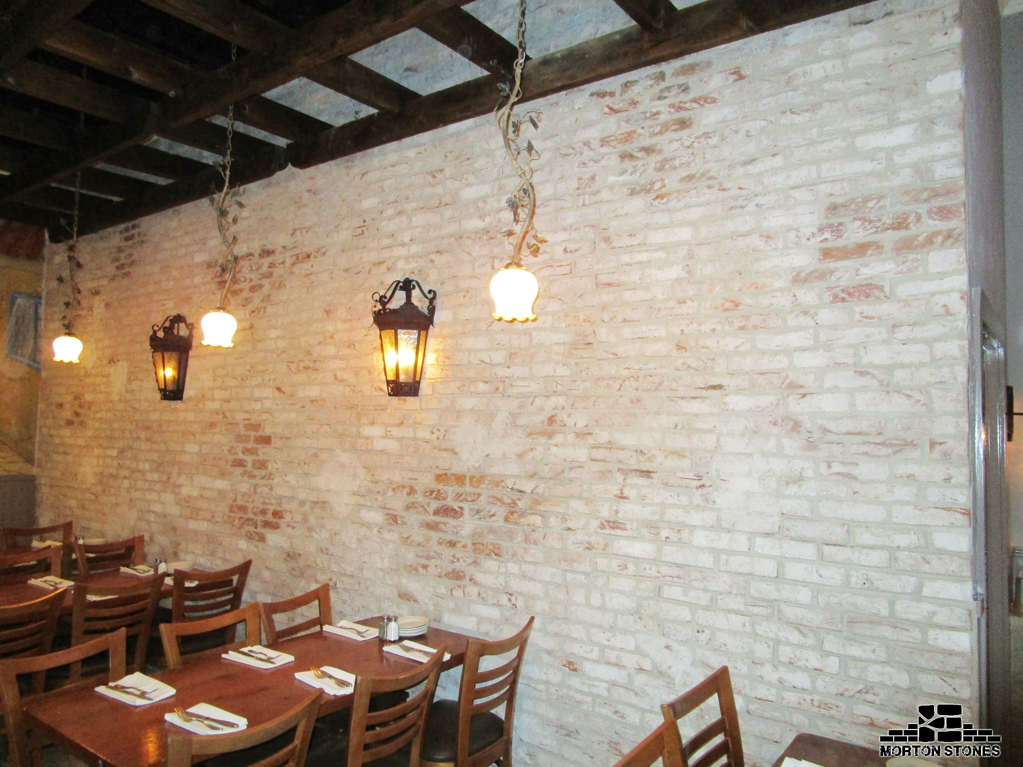 A Classic White Brick Wall In A Restaurant #Mortonstones #Brick