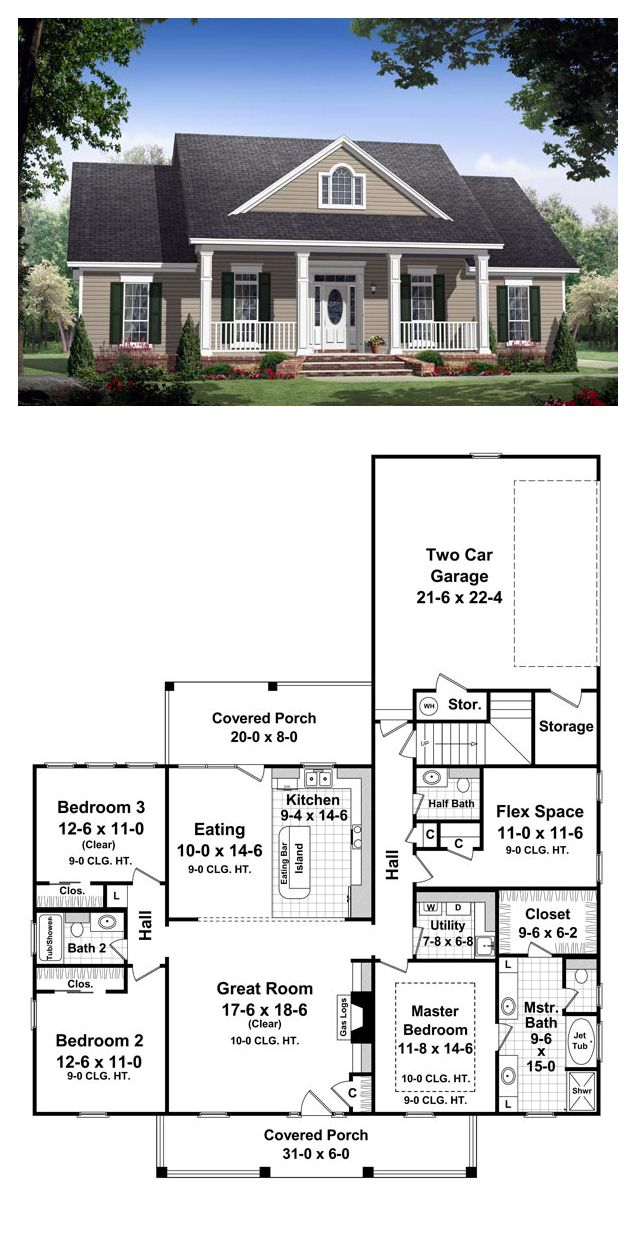 Traditional Style House Plan 59134 With 3 Bed 3 Bath 2 Car Garage Colonial House Plans Best House Plans New House Plans