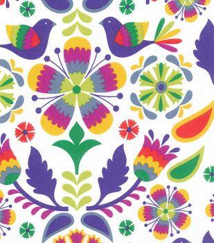 Novelty Cotton Fabric- Multi Bird Damask