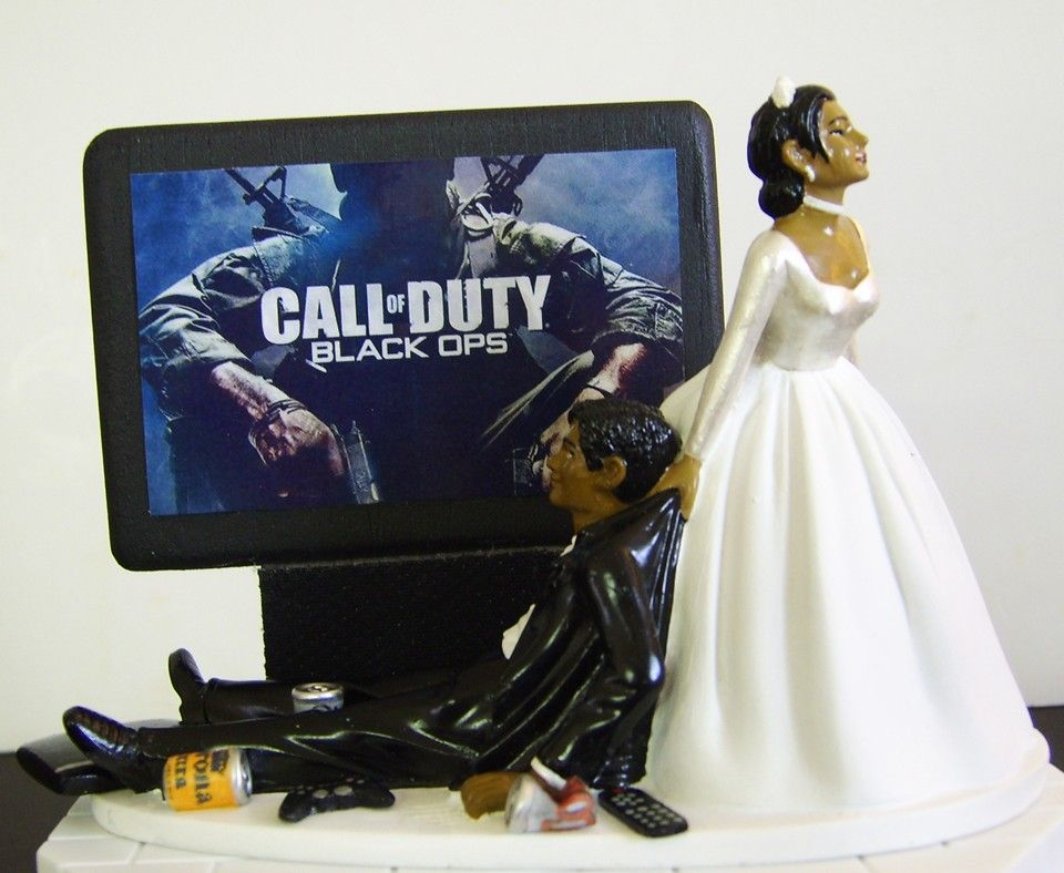AFRICAN AMERICAN Video Game Junkie Groom Perfect Customized Wedding Cake Topper 10595