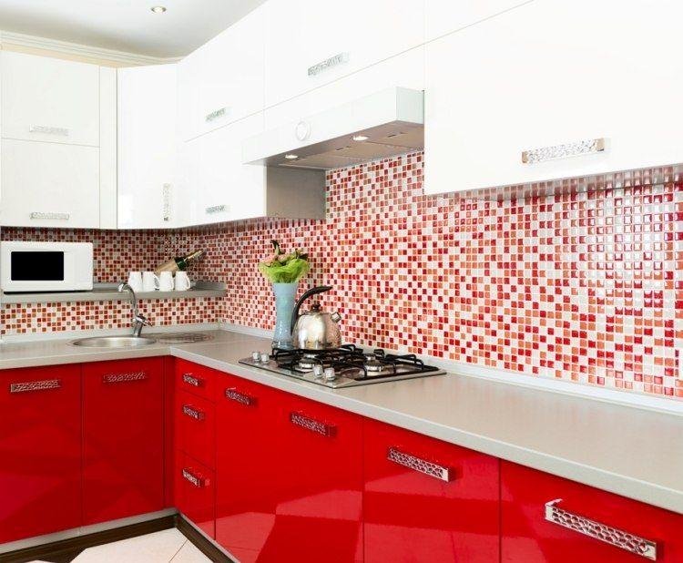 Crédence Cuisine En Mosaique En Pâte De Verre En Rouge Et Blanc, Meubles De  Cuisine