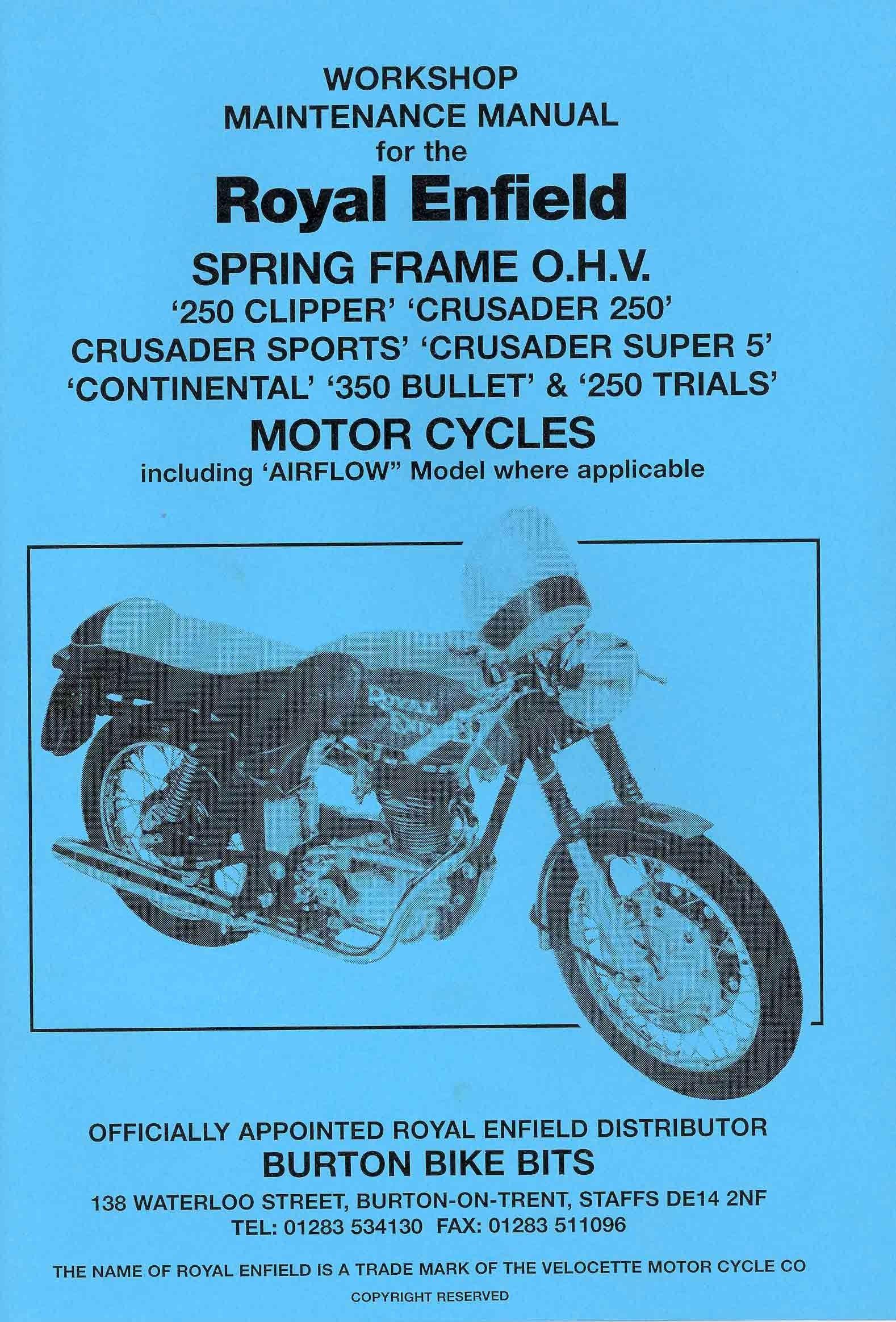 Royal Enfield Spring Frame OHV Workshop Manual
