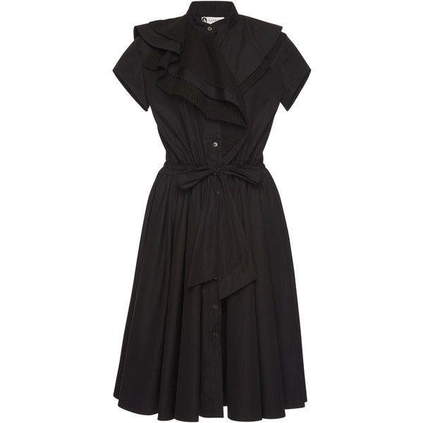Lanvin Umbrella Ruffle Knee Length Dress (6.895 BRL) ❤ liked on Polyvore featuring dresses, black, cotton ruffle dress, cotton knee length dresses, flutter-sleeve dress, cotton dress and frilled dress