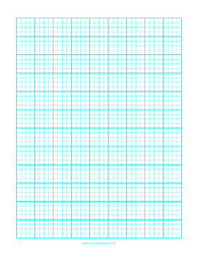 This letter-sized graph paper has one cyan line every 5mm with a
