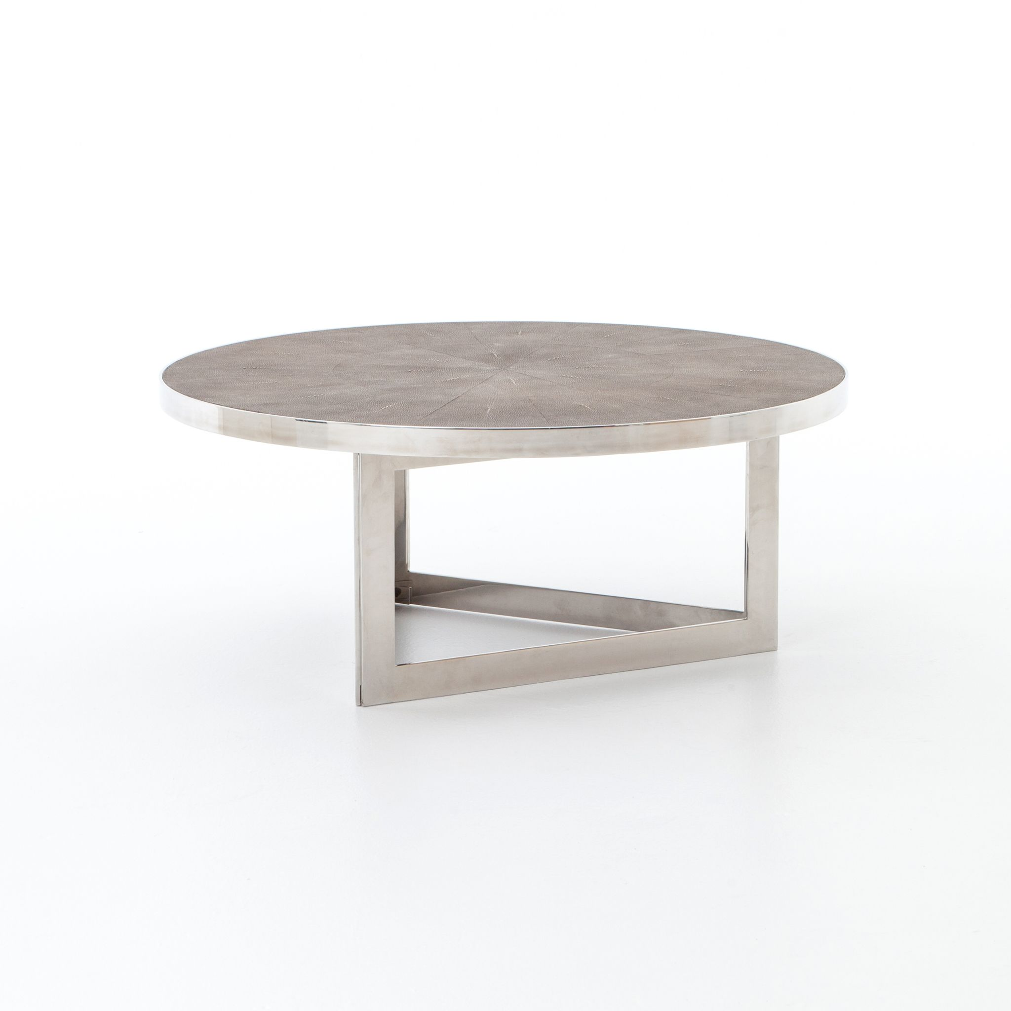 """Shagreen and stainless coffee table $1075 25 38"""" DIA"""
