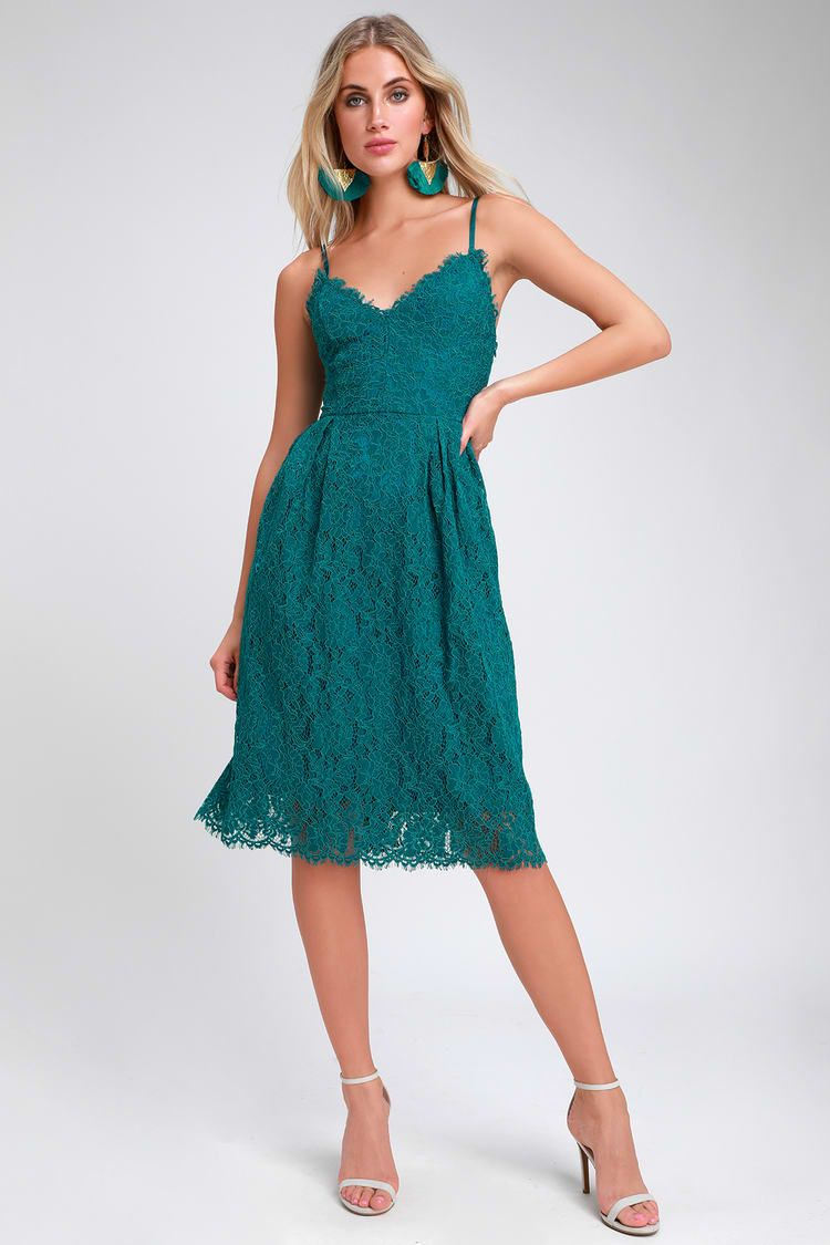 d73b8997980ed Royal Treatment Teal Blue Lace Midi Skater Dress in 2019 | Items to ...