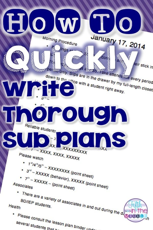 Spending some time creating a sub plan template will save you time - spend plan template