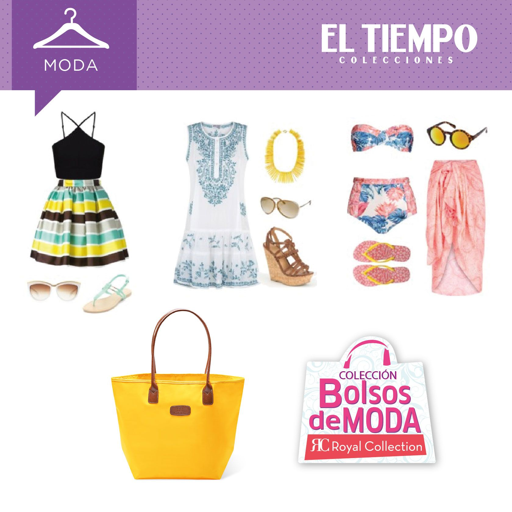 Nuestro bolso shopping amarillo es ideal para dar un paseo, para ir de compras o para caminar por la playa. Te proponemos tres atuendos con él #TuBolsoTuMundo