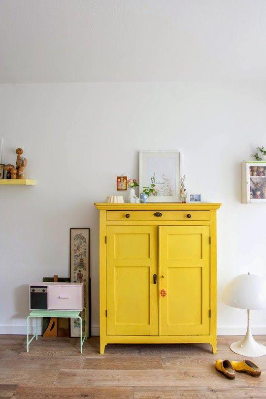 meuble jaune, bois peint Ambiance déco Pinterest Amarillo - meuble en bois repeint