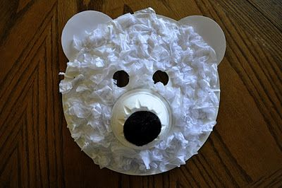 Polar Bear Masks made with tissue paper and recycled goods from @Iheartcraftythings